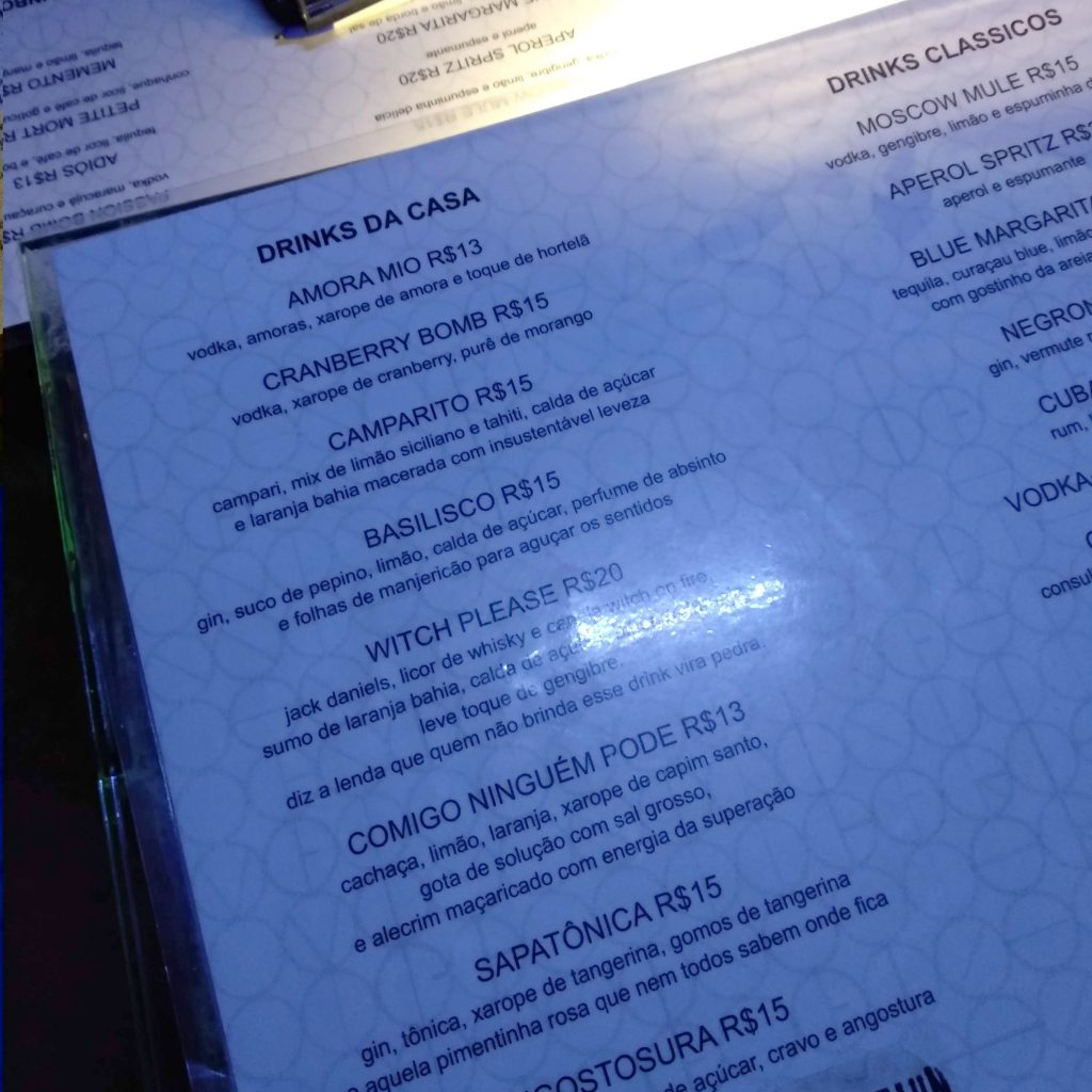 carta de drinks do madalena bar